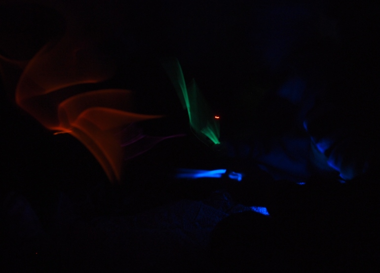 The grade 6 students all had glow sticks to light up their quinzhees tonight