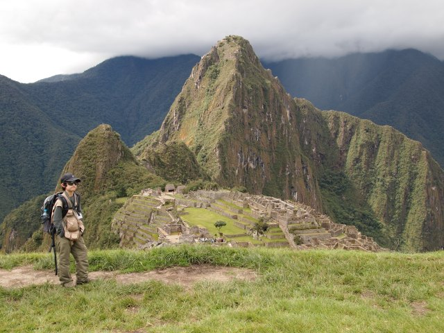 Youngest GeoKid at viewpoint overlooking Machu Picchu
