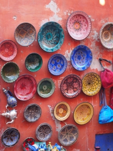 Colourful plates in the souk, Marrakech