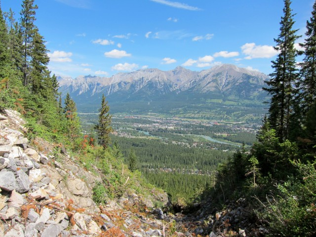 A glimpse of Canmore from the Highline Trail