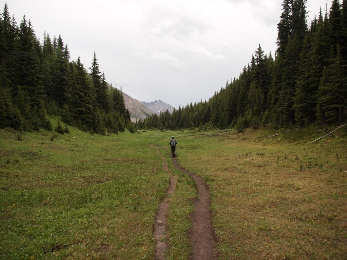 Youngest GeoKid hikes across the lower meadow on his way back to the parking area