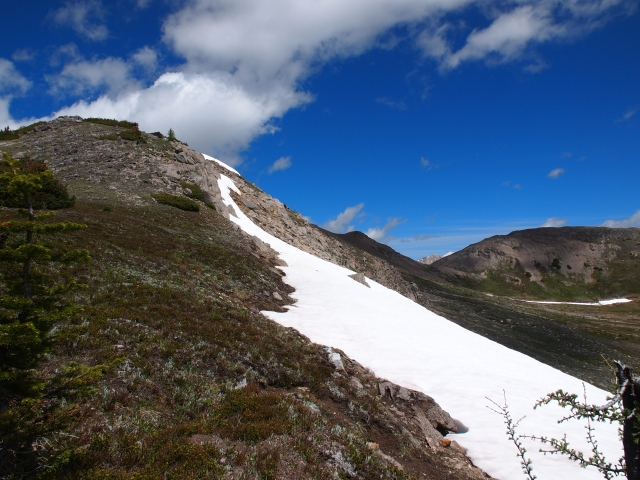Looking up to the first peak on Hawk Ridge
