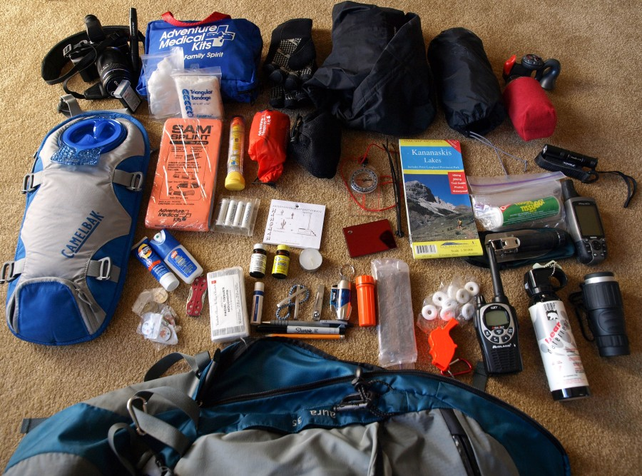 Pack contents for a day hike