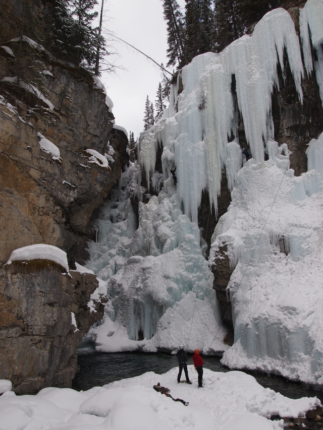 Ice climbers at the Upper Falls