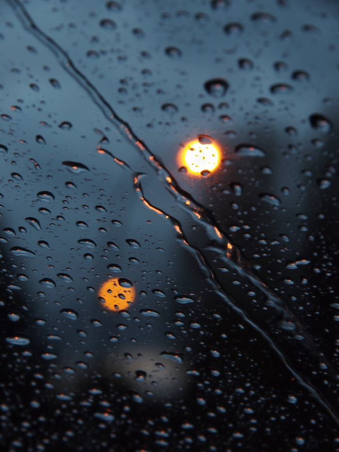 Raindroops through windshield
