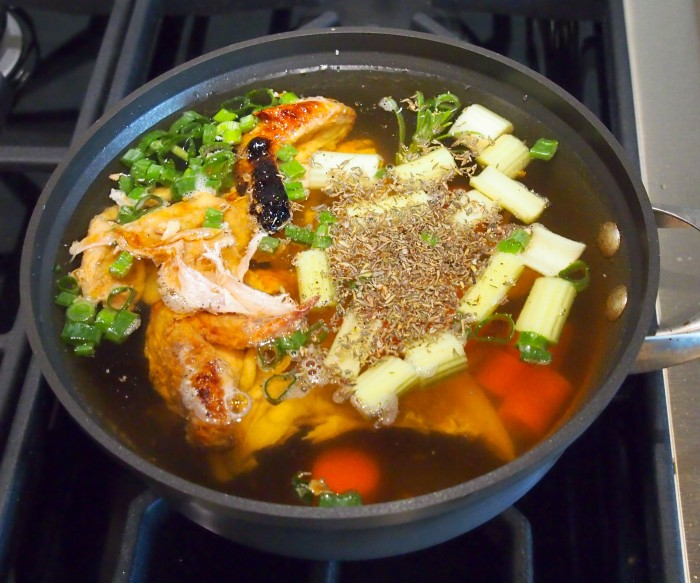 Ingredients for chicken stock, ready to simmer
