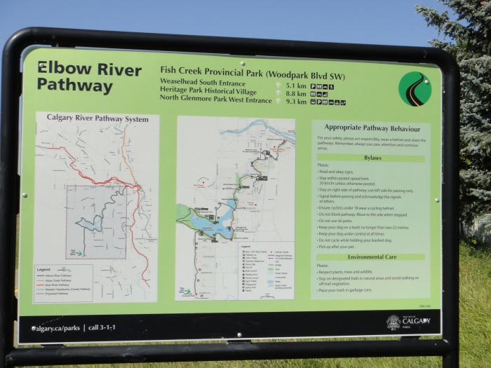 Elbow River Pathway Sign with Map