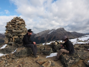 Taking a short break at the cairn