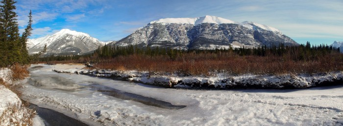 Snow-capped Grotto Mountain from the banks of the Bow River