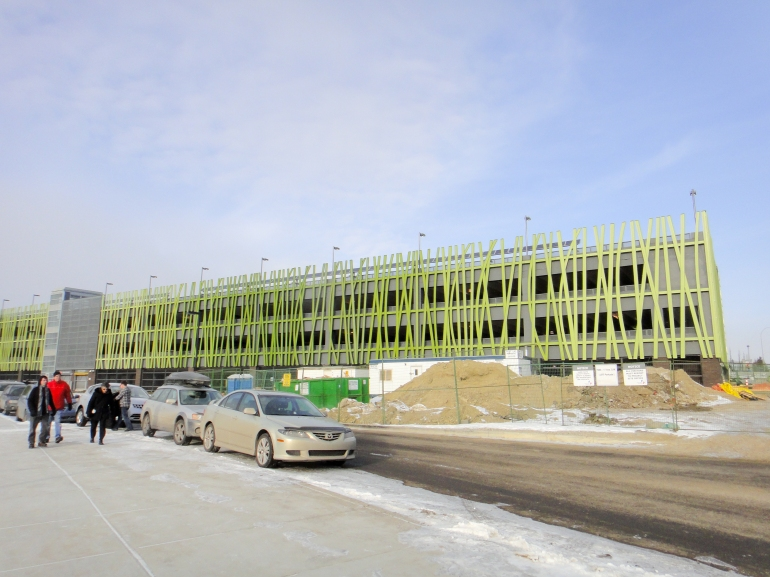 69th Street station parkade. Note the solar panels up top.