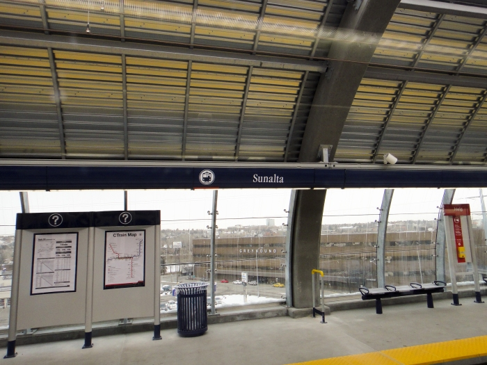 Sunalta Station is just west of downtown, near the Greyhound bus terminal. It's elevated!