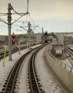 A closer look at the Sunalta Station, through the driver's window approaching from downtown.