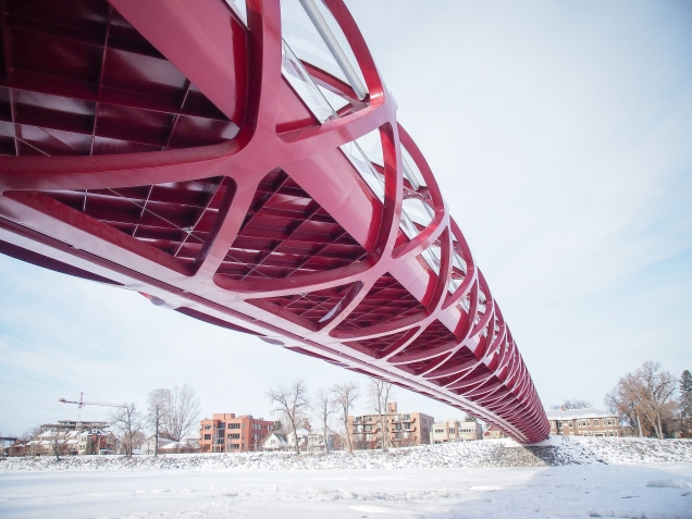 Look north from underneath the south end of the Peace Bridge