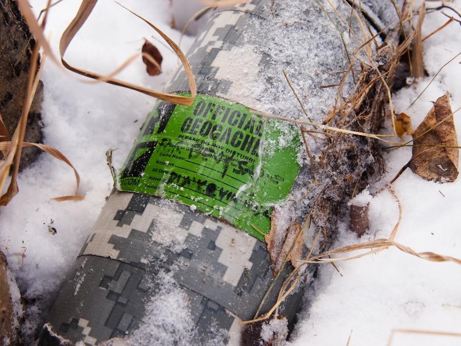 Nalgene water bottle cache in the snow