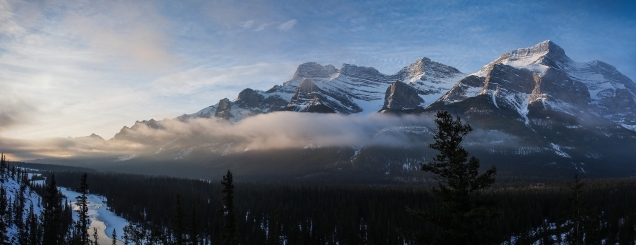 Panorama shot of Mount Rundle, looking more to the southeast where the sun was trying to break through the clouds