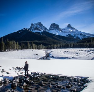 Sandals, snow and Three Sisters