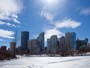 Calgary skyline from Princes Island Park