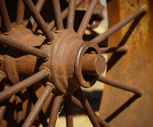 Metal spoked wheel and axel