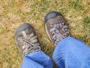 Last year's model on my left foot and this year's model on my right foot. Time to switch over to new boots!