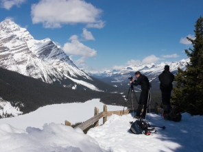 Mr. GeoK and C at the official Peyto Lake Viewpoint. Note the guard railing is barely protruding from the snowpack.