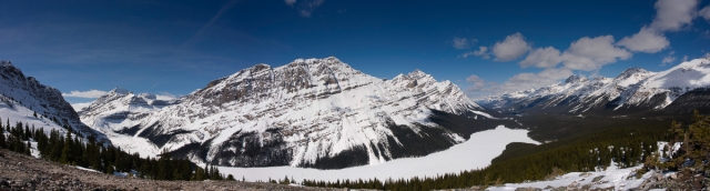 From left to right: shoulder of Mount Jimmy Simpson, Mount Thompson, Peyto Glacier, Peyto Peak, Caldron Peak, the Mistaya Valley and then another group of mountains on the other side of the valley. Peyto Lake is covered in snow and ice.