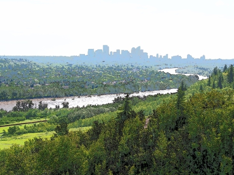 The Bow River snakes it way towards downtown Calgary from Edworthy Park
