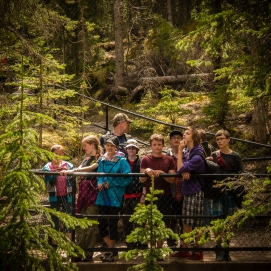 """CSS students and parent volunteer """"Sears Tower"""" at one of the Maligne Canyon overlooks"""