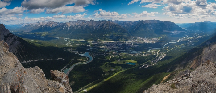 View of Canmore townsite from the top of Ha Ling