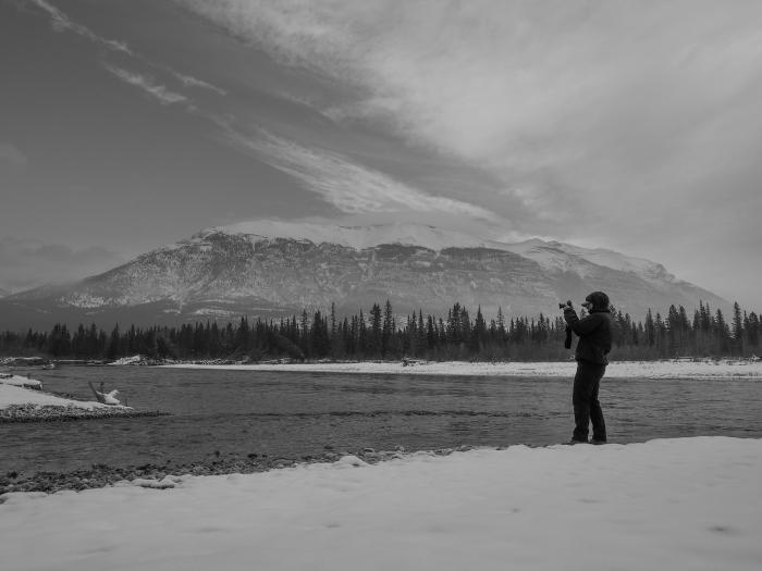 black-and-white-mountain