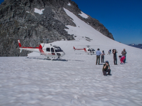 Do two helicopters perched on the same glacier = an alpine traffic jam?