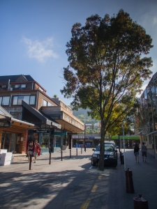 The central business district of Queenstown on a Saturday morning. The streets and sidewalks are quiet until about 10:30 and then it's transformed into a busy, tourist-oriented shopping and dining district.