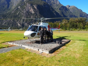 New Zealand family photograph #1 - at the Milford Sound heliport.