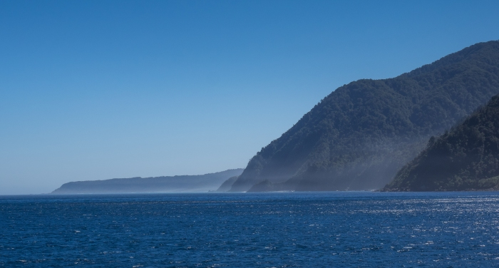 Our first glimpse of the Tasman Sea.