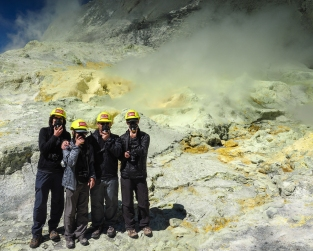 Family Photo #8 - GeoKs at the fumarole thought to be the new main vent