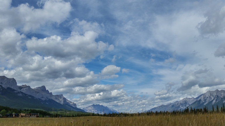 Looking west across the meadow towards Mount Rundle and Cascade Mountain.